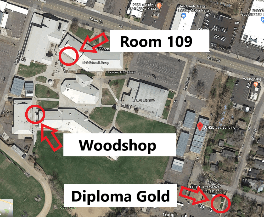 Map of the three locations classes are held at